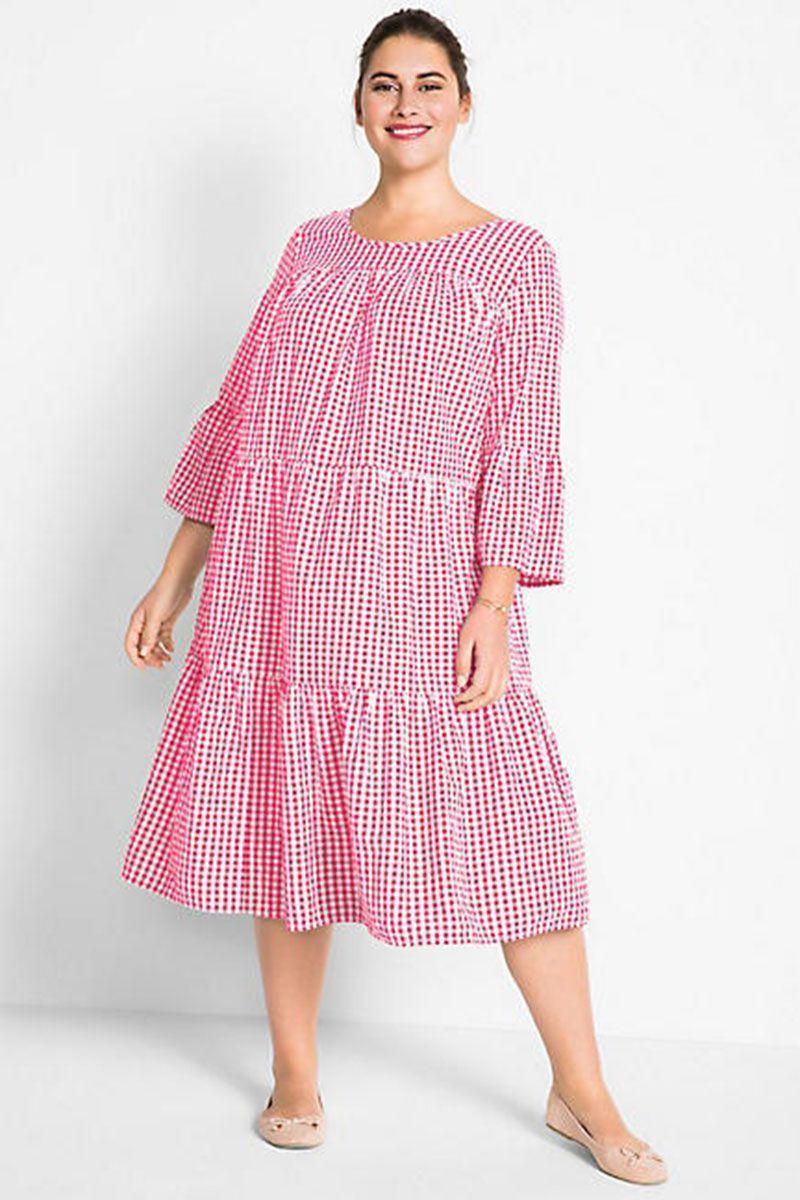 "<p>Tiered checked dress, £29.99, Curvissa</p><p><a class=""link rapid-noclick-resp"" href=""https://www.curvissa.co.uk/products/tiered-checked-dress/_/A-920256_24?PFM_rsn=browse&PFM_ref=false&PFM_psp=own&PFM_pge=5&PFM_lpn=43"" rel=""nofollow noopener"" target=""_blank"" data-ylk=""slk:BUY NOW"">BUY NOW</a></p>"