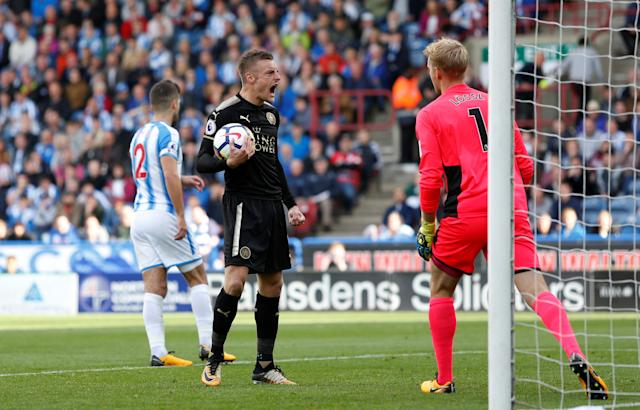 <p>Jamie Vardy celebrates scoring their first goal from the penalty spot Action Images via Reuters/Ed Sykes </p>