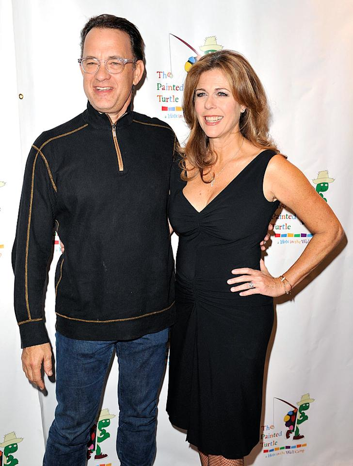 """Tom Hanks and his wife Rita Wilson also flew to San Francisco to take part in the event. Hanks told the San Francisco Chronicle that Newman motivated other movie stars to think about what they could do to give back. Kevin Winter/<a href=""""http://www.gettyimages.com/"""" target=""""new"""">GettyImages.com</a> - October 27, 2008"""