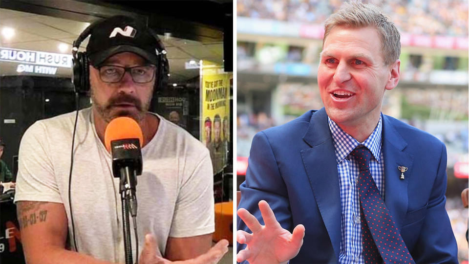 NRL great Mark Geyer (pictured left) speaking in the radio station and AFL great Kane Corners (pictured right) answering a question.