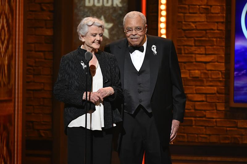 NEW YORK, NY - JUNE 12: Presenters Angela Lansbury and James Earl Jones speak onstage during the 70th Annual Tony Awards at The Beacon Theatre on June 12, 2016 in New York City. (Photo by Theo Wargo/Getty Images for Tony Awards Productions)