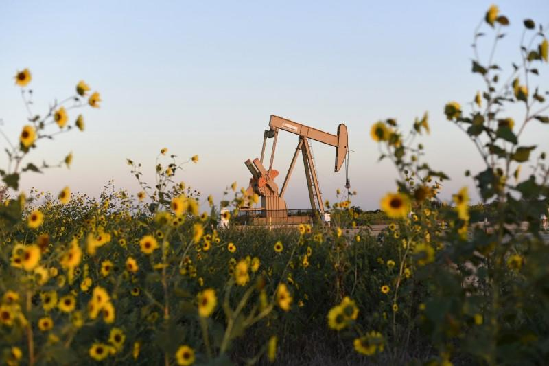 File photo of a pump jack is seen near sunflowers in Guthrie, Oklahoma