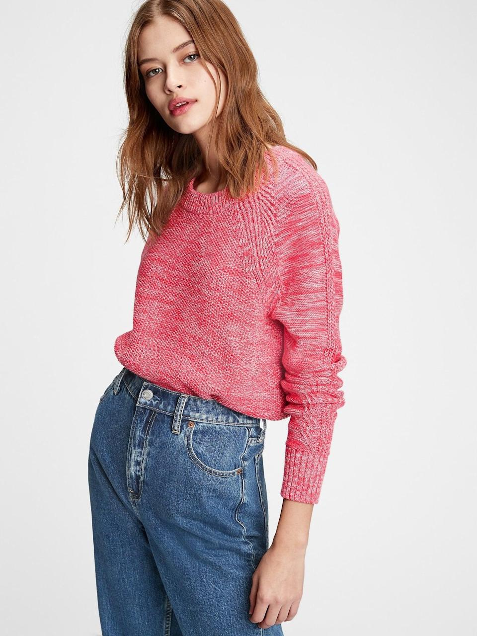 <p>We love the heathered red of this <span>Gap Textured Crewneck Sweater</span> ($34, originally $60).</p>