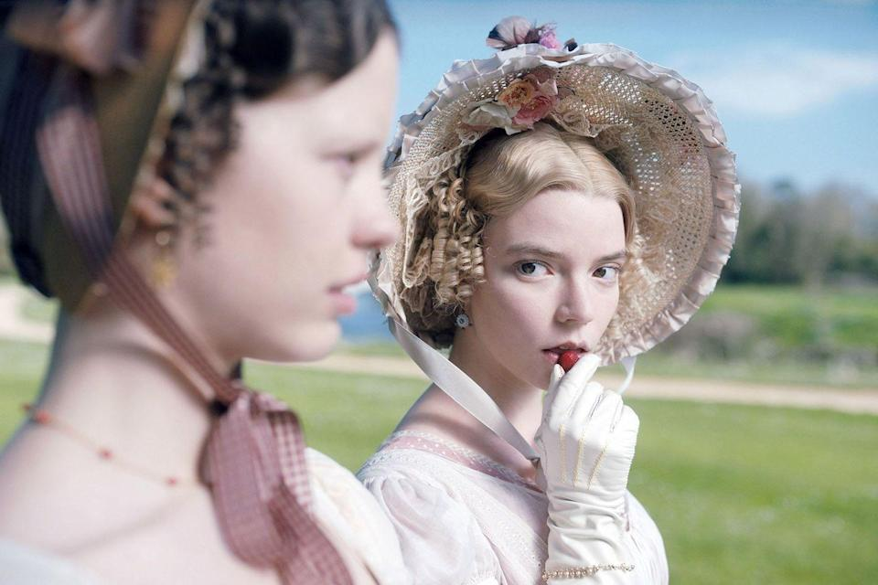 """<p>""""Handsome, clever and rich"""" is how <em>Emma</em>'s tagline describes its matchmaking heroine (Anya Taylor-Joy), but it's also an apt summation of director Autumn de Wilde's Jane Austen adaptation, which is energized by meticulous style, spirited wit and passionate emotions. Hewing closely to its source material, the film charts Emma Woodhouse's efforts to find a suitor for her doting companion Harriet Smith (Mia Goth) while struggling with her own blossoming feelings for her sister's brother-in-law, George Knightley (Johnny Flynn). Round and round the romantic entanglements go, not only for these three characters but a host of others that de Wilde and screenwriter Eleanor Catton faithfully delineate in clean, bright brushstrokes. Its studied imagery suggesting a daintier variation on Wes Anderson's trademark visuals, <em>Emma</em> boasts an aesthetic confidence that's matched by its performers. At the head of that impressive pack (which also includes Bill Nighy) is Taylor-Joy, whose Emma exudes just the right amount of playful cockiness and ambition – qualities ultimately undercut by her realization that no amount of manipulations can change what the heart wants.<br></p><p><a class=""""link rapid-noclick-resp"""" href=""""https://www.amazon.com/Emma-Johnny-Flynn/dp/B084Q5TP1S/?tag=syn-yahoo-20&ascsubtag=%5Bartid%7C10054.g.29500577%5Bsrc%7Cyahoo-us"""" rel=""""nofollow noopener"""" target=""""_blank"""" data-ylk=""""slk:Watch Now"""">Watch Now</a></p>"""