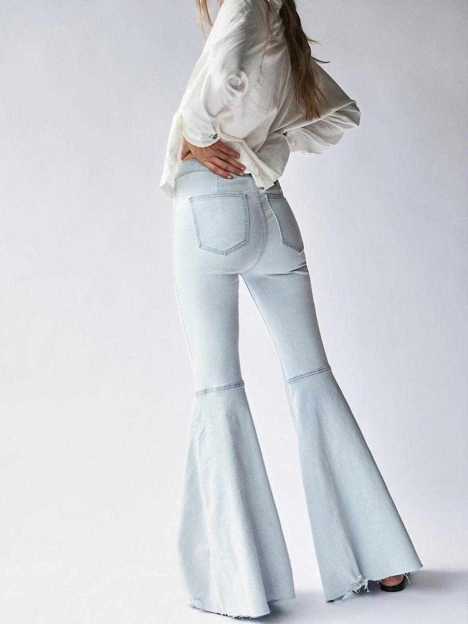 """<p><strong>Free People</strong></p><p>freepeople.com</p><p><strong>$78.00</strong></p><p><a href=""""https://go.redirectingat.com?id=74968X1596630&url=https%3A%2F%2Fwww.freepeople.com%2Fshop%2Fjust-float-on-flare-jeans%2F&sref=https%3A%2F%2Fwww.goodhousekeeping.com%2Fholidays%2Fhalloween-ideas%2Fg27952017%2Fbest-hippie-halloween-costume-ideas%2F"""" rel=""""nofollow noopener"""" target=""""_blank"""" data-ylk=""""slk:Shop Now"""" class=""""link rapid-noclick-resp"""">Shop Now</a></p><p>If you're a fan of the bell bottom jeans look, try this stylish 2020 update. Save them for after Halloween, because they're cute enough to wear all year.</p>"""