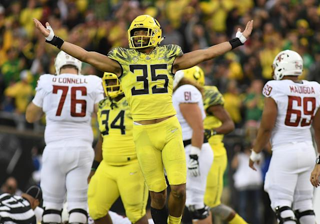 Oregon linebacker Troy Dye could become the school's all-time tackles leader with a great senior season. (Photo by Brian Murphy/Icon Sportswire via Getty Images)