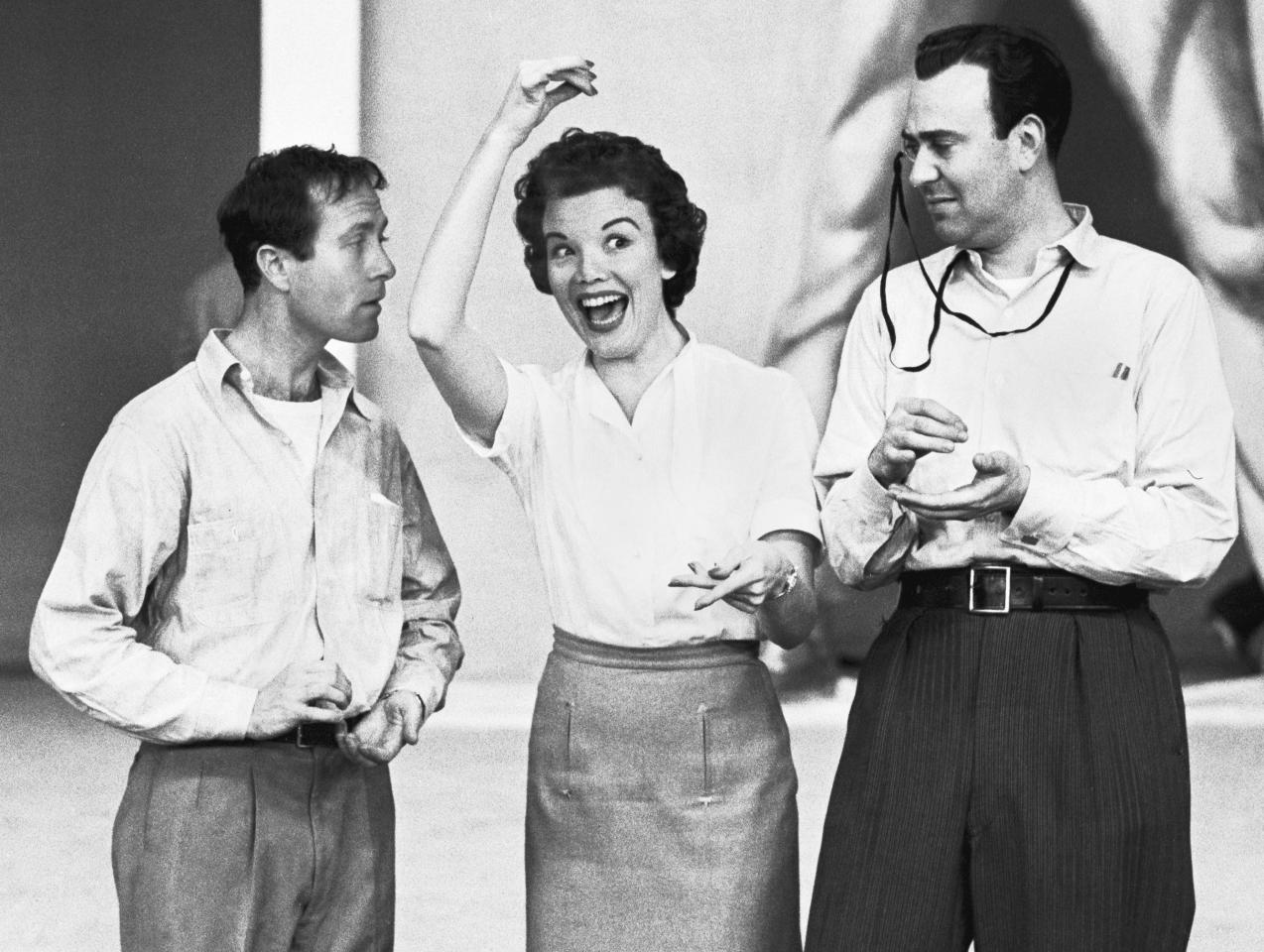 American actors Howard Morris (1919 - 2005) (left), Nanette Fabrey, and Carl Reiner (with monocle) clown around on the set of the comedy sketch show 'Caesar's Hour' (named after host Sid Ceaser), New York, New York, 1955. (Photo by Robert Lerner/Getty Images)