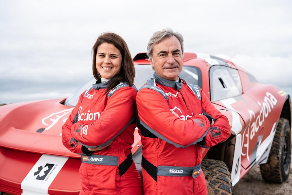 <em>Motorcycle enduro champion Laia Sanz and rally legend Carlos Sainz will be teamed on the Acciona/Sainz XE team in the Extreme E Series (The Crown Creators).</em>