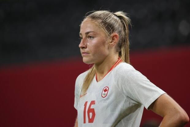 Canada's forward Janine Beckie looks on during her team's match against Chile during the Tokyo 2020 Olympic Games at the Sapporo Dome in Sapporo, Japan, On Saturday. Beckie scored both her country's goals in a 2-1 victory. (Asano Ikko/AFP via Getty Images - image credit)
