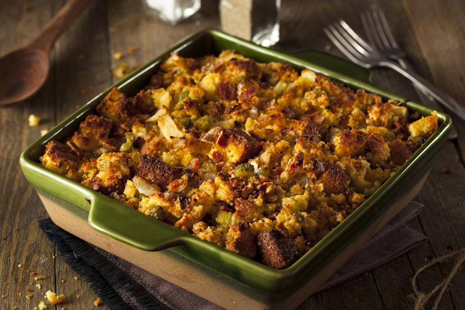 "<p>This carb-heavy stuffing is not only wildly delicious, but is also so special to North Carolinians. </p><p>Get the <a href=""https://www.delish.com/cooking/recipe-ideas/a22553375/easy-sausage-stuffing-recipe/"" rel=""nofollow noopener"" target=""_blank"" data-ylk=""slk:recipe"" class=""link rapid-noclick-resp"">recipe</a>.</p>"