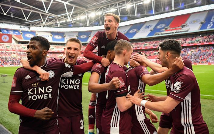 That winning feeling for Leicester players are they celebrate Tielemans' winner - GETTY IMAGES