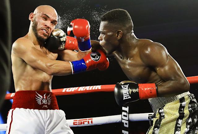 Richard Commey (R) scored an eighth round knockout of Ray Beltran on June 28, 2019 at Pechanga Resort Casino in Temecula, California. (Mikey Williams/Top Rank)