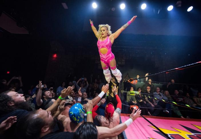 """<div class=""""inline-image__caption""""><p>Nacho Libre wrestlers perform during the Lucha Vavoom 'Valentines Day' show at the Mayan Theatre, California, on February 12, 2020. Lucha Vavoom combines Mexican Nacho Libre wrestling with cabaret and burlesque acts to make a uniquely Los Angeles variety show.</p></div> <div class=""""inline-image__credit"""">Mark Ralston/Getty</div>"""