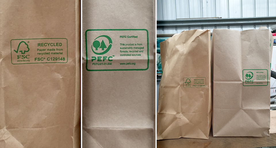 Three images showing the difference between Woolworths bags. Left - an FSC bag. Right - a PEFC bag. Centre - both bags side by side.