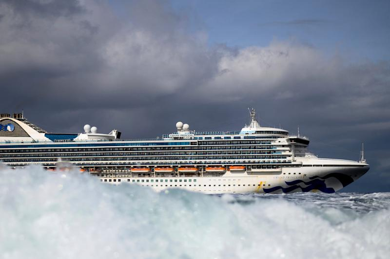 10 Carrying multiple people who have tested positive for COVID 19, the Grand Princess maintains a holding pattern about 30 miles off the coast of San Francisco, Sunday, March 8, 2020.