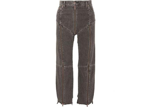 "Vetements X Levis Distressed Zip-Detailed High Rise Straight Leg Jeans, $1,715, <a href=""https://www.net-a-porter.com/us/en/product/821178/Vetements/-levi-s-distressed-zip-detailed-high-rise-straight-leg-jeans"" rel=""nofollow noopener"" target=""_blank"" data-ylk=""slk:www.Net-a-Porter.com"" class=""link rapid-noclick-resp"">www.Net-a-Porter.com</a>"
