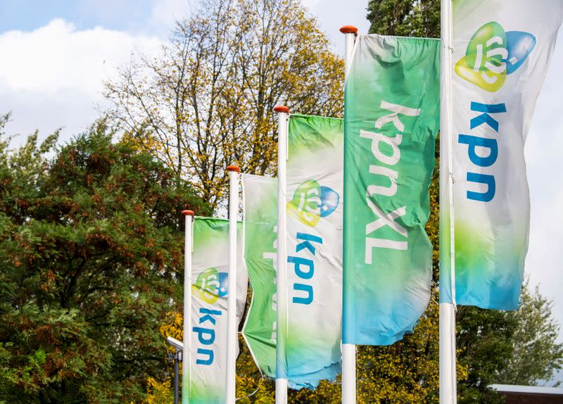 FILE PHOTO: KPN flags at a KPN department in Den Bosch