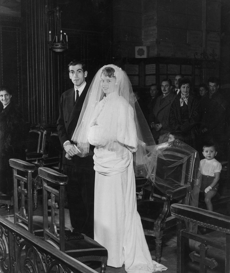 <p>After her on-screen debut in <em>Le Trou Normand </em>(<em>Crazy for Love</em>), Brigitte Bardot caught the eye of French director Roger Vadim. The couple waited until Brigitte turned 18 to marry in a ceremony in France. </p>