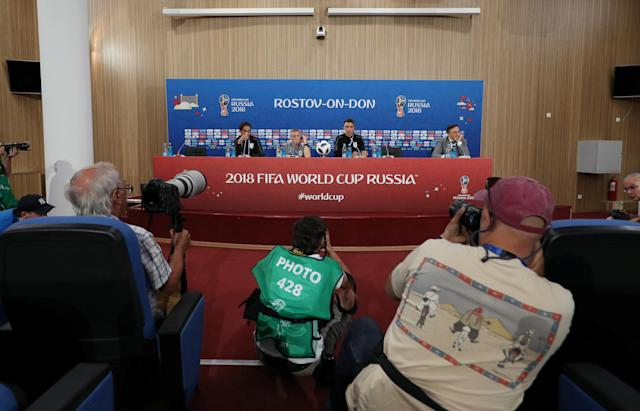 Soccer Football - World Cup - Uruguay Press Conference - Rostov Arena, Rostov-on-Don, Russia - June 19, 2018 Uruguay coach Oscar Tabarez and Fernando Muslera during the press conference REUTERS/Marko Djurica