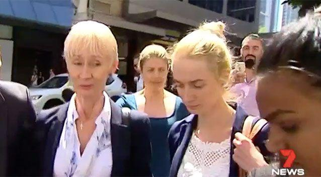 Genute Balsiene, left, and daughter Saule Baslyte leave court early. Source: 7 News