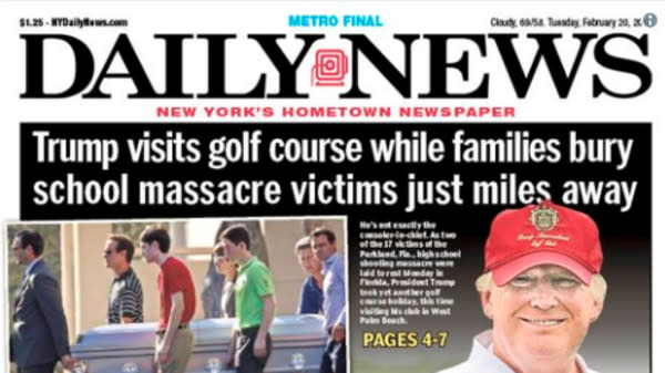 New York Daily News Rips Donald Trump For Visiting Golf Course During Florida Funerals