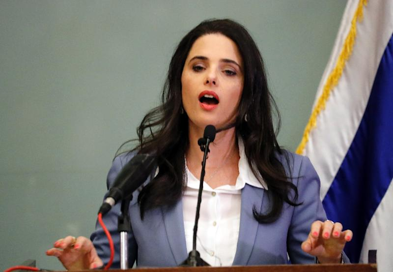Israeli Justice Minister Ayelet Shaked gives a statement at the Knesset in Jerusalem on November 19, 2018