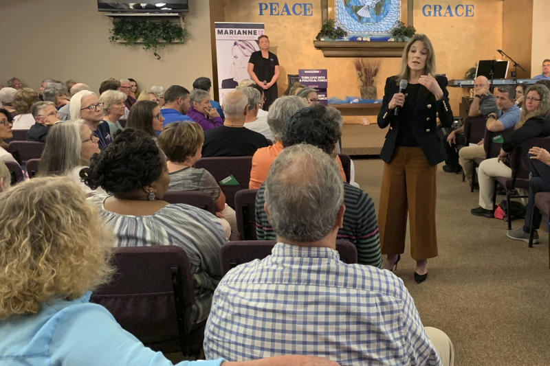 Democratic presidential candidate Marianne Williamson, speaks to a group of supporters at a church in Greenville, S.C., on Aug. 30, 2019. Despite being excluded from this week's third Democratic debate due to poor polling numbers, the best-selling author continues to campaign full time, with the goal of qualifying for the fourth debate in mid-October.  (AP Photo/Khalil Ashraf)