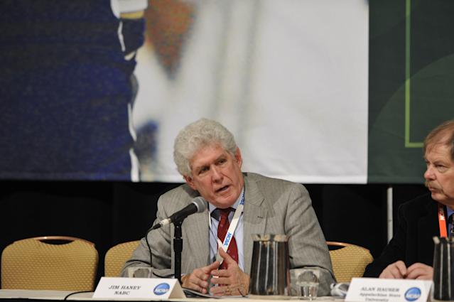 Jim Haney speaks at the Division I Issues Forum at the 2010 NCAA Convention in Atlanta. (Getty)