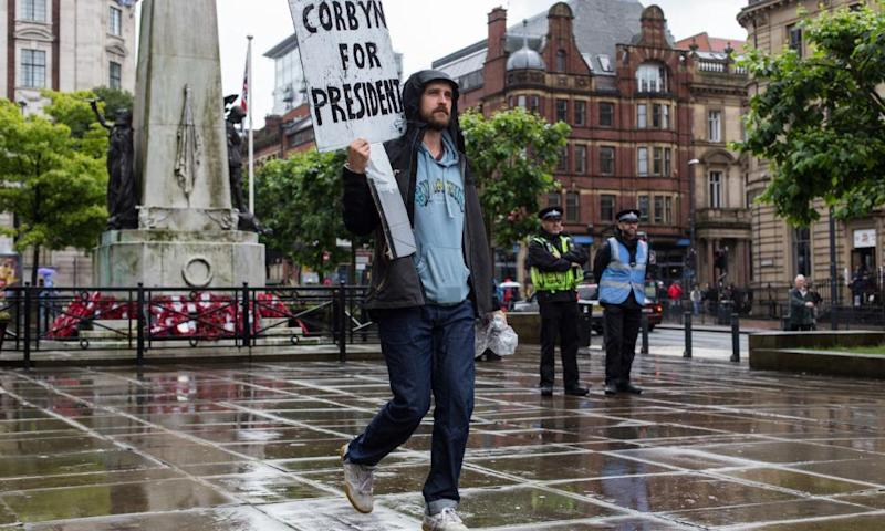 A Jeremy Corbyn supporter in Leeds during the Labour leadership campaign in 2016
