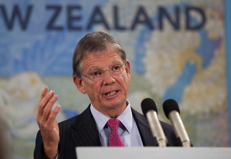 New Zealand Reserve Bank Governor Graeme Wheeler announces raising its benchmark interest rate by quarter of a percentage point to 2.75 percent in Wellington, New Zealand, Thursday, March 13, 2014. The South Pacific nation of 4.5 million has benefited from booming demand in China for its milk products and the gathering pace of a rebuilding effort in the city of Christchurch following an earthquake there three years ago that destroyed much of the downtown. (AP Photo/New Zealand Herald, Mark Mitchell) NEW ZEALAND OUT, AUSTRALIA OUT