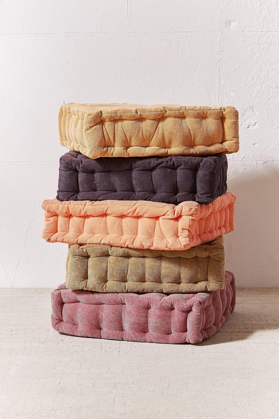 """<p>Create extra seating space with this <a href=""""https://www.popsugar.com/buy/Washed-Corduroy-Floor-Pillow-560406?p_name=Washed%20Corduroy%20Floor%20Pillow&retailer=urbanoutfitters.com&pid=560406&price=49&evar1=casa%3Aus&evar9=46598422&evar98=https%3A%2F%2Fwww.popsugar.com%2Fhome%2Fphoto-gallery%2F46598422%2Fimage%2F47342589%2FWashed-Corduroy-Floor-Pillow&list1=shopping%2Chome%20decor%2Chome%20shopping&prop13=mobile&pdata=1"""" class=""""link rapid-noclick-resp"""" rel=""""nofollow noopener"""" target=""""_blank"""" data-ylk=""""slk:Washed Corduroy Floor Pillow"""">Washed Corduroy Floor Pillow</a> ($49).</p>"""