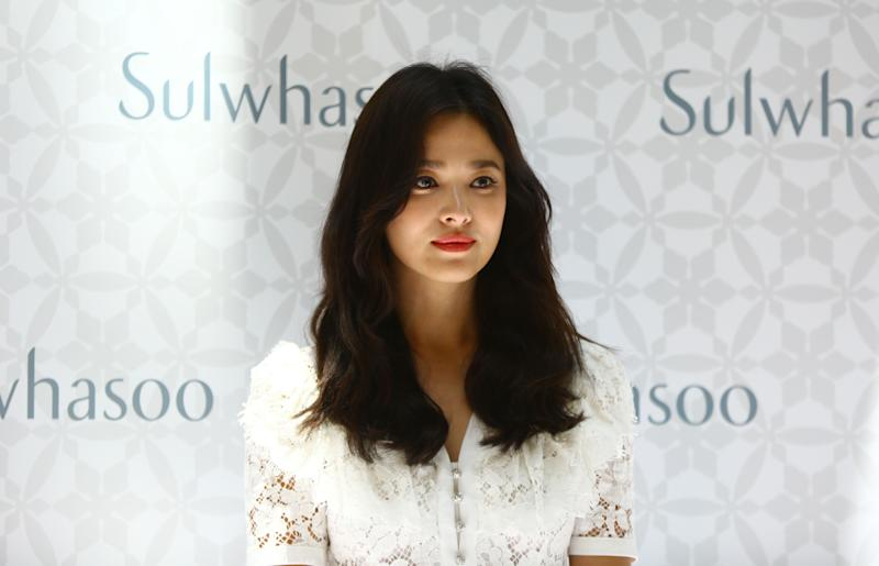 SANYA, CHINA - JULY 06: South Korean actress Song Hye-kyo attends Sulwhaso event on July 6, 2019 in Sanya, Hainan Province of China. (Photo by Visual China Group via Getty Images/Visual China Group via Getty Images)