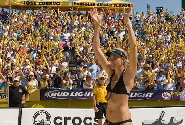 Kerri Walsh acknowledges the crowd before the women's finals in the AVP Pringles Smart Flavors Cincinnati Open at the Linder Family Tennis Center on September 2, 2007 in Mason, Ohio. May-Treanor/Walsh defeated Fontana/DeNecochea in two games 21-17, 21-15.