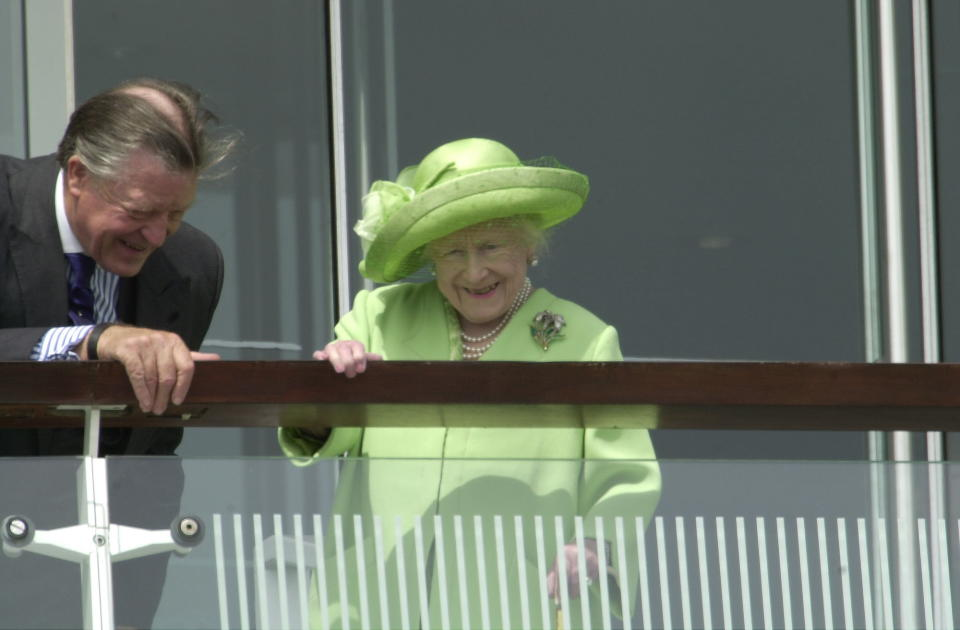 EPSOM, UNITED KINGDOM - JUNE 10:  The Royal Family At The Epsom Derby Races.  The Queen Mother Watching From The Balcony And Laughing With Sir Michael Oswald, Her Racing Manager  (Photo by Tim Graham Photo Library via Getty Images)