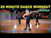 "<p>Brilliant for beginners, you'll run through a number of different dance styles in this short dance workout. From Hustle, Salsa, Merengue, Cha-Cha, Rumba and Jive, you'll come out with some new knowledge and skills. Amazing. </p><p><a href=""https://www.youtube.com/watch?v=dOJjIIHa0jk&ab_channel=375DanceStudio"" rel=""nofollow noopener"" target=""_blank"" data-ylk=""slk:See the original post on Youtube"" class=""link rapid-noclick-resp"">See the original post on Youtube</a></p>"