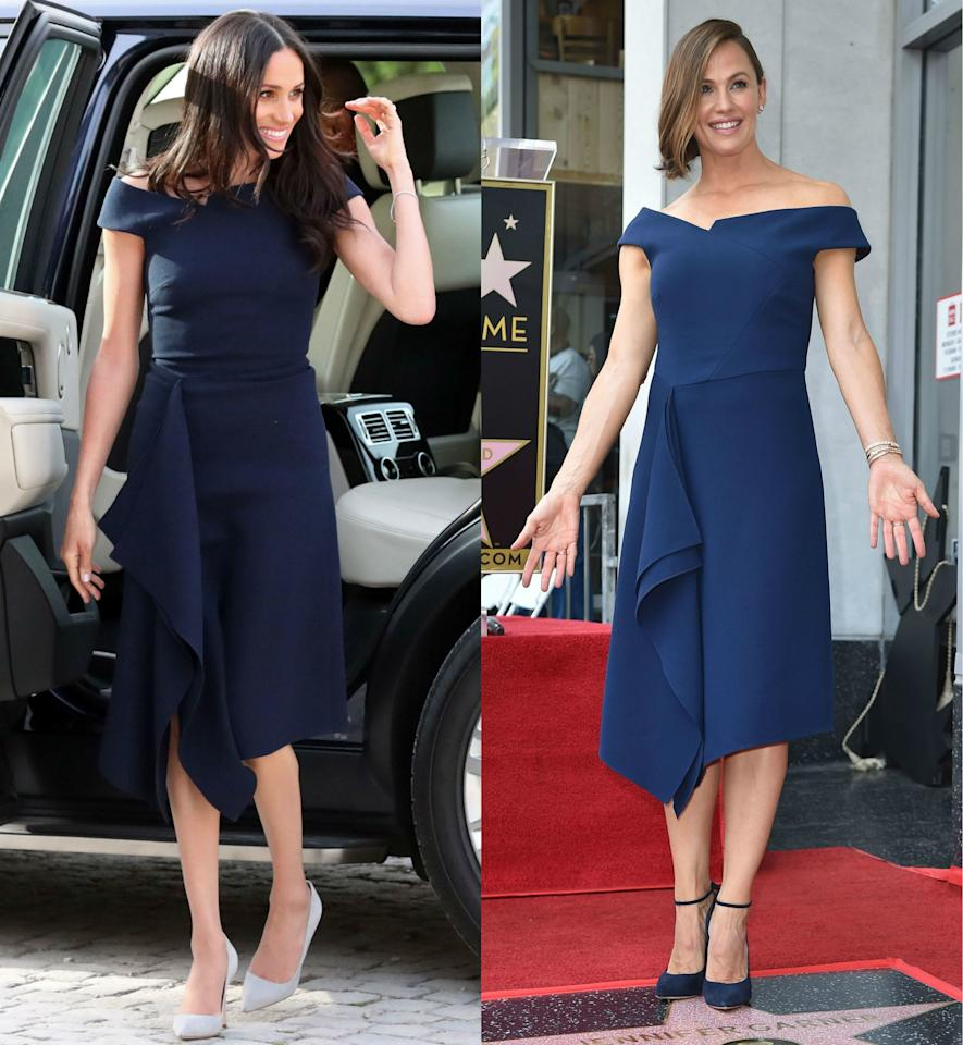 """Big occasions call for showstopping dresses, and both Meghan Markle and Jennifer Garner opted for this gorgeous navy blue Roland Mouret number. Markle wore it on May 18, 2018, the day before her <a href=""""http://www.glamour.com/royal-wedding?mbid=synd_yahoo_rss"""">royal wedding</a>, while Garner stepped out in the Mouret three months later, when she got her star on the Hollywood Walk of Fame."""