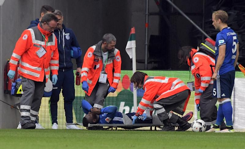 Schalke's Breel Embolo faces six months out after fracturing his left ankle at Augsburg (AFP Photo/Stefan Puchner)