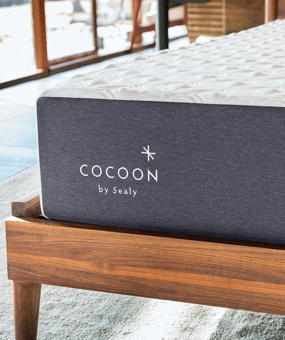 """<h2>Cocoon By Sealy</h2><br><strong>Sale:</strong> Save 35% on Chill Mattress + free pillows and sheets<br><strong>Promo Code:</strong> None<br><strong>Dates:</strong> Now - Limited Time<br><br><em>Shop</em> <strong><em><a href=""""http://cocoonbysealy.com"""" rel=""""nofollow noopener"""" target=""""_blank"""" data-ylk=""""slk:Sealy"""" class=""""link rapid-noclick-resp"""">Sealy</a></em></strong><br><br><strong>Cocoon</strong> Chill Memory Foam, $, available at <a href=""""https://go.skimresources.com/?id=30283X879131&url=https%3A%2F%2Fwww.cocoonbysealy.com%2Fmattress%2Fchill%2F"""" rel=""""nofollow noopener"""" target=""""_blank"""" data-ylk=""""slk:Sealy"""" class=""""link rapid-noclick-resp"""">Sealy</a>"""