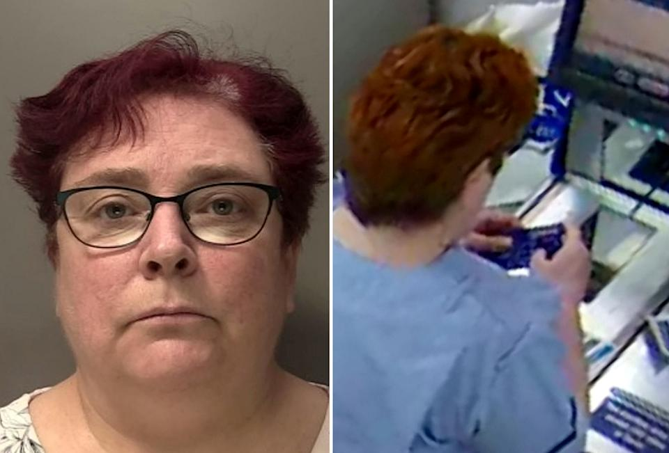 """COMPOSITE IMAGE - Rebecca Ellis (L) using the stolen bank card to buy biscuits (R).  A care assistant has been jailed for stealing bank cards from a dying patient and going on a spending spree while he lay terminally ill in hospital.  See SWNS story SWMDcarer.  Rebecca Ellis stole two debit cards from cancer patient Fred Bromley when he was admitted to Queen Elizabeth Hospital in Birmingham on 20 February 2020.  Hours later she used one of the contactless cards to buy biscuits at an on-site WHSmith shop within the QE.  And after that """"test purchase"""" succeeded she went on to use them at various stores plus ordered £126 worth of clothes from Dorothy Perkins online.  Mr Bromley's daughter noticed the cards had vanished and cancelled them on 24 February but not before Ellis had taken a large amount of money from her dad's accounts.  Birmingham Magistrates Court heard Ellis stole them from Mr Bromley's overnight bag in the A&E department after he was admitted to hospital due to a cancerous hip joint dislocating."""