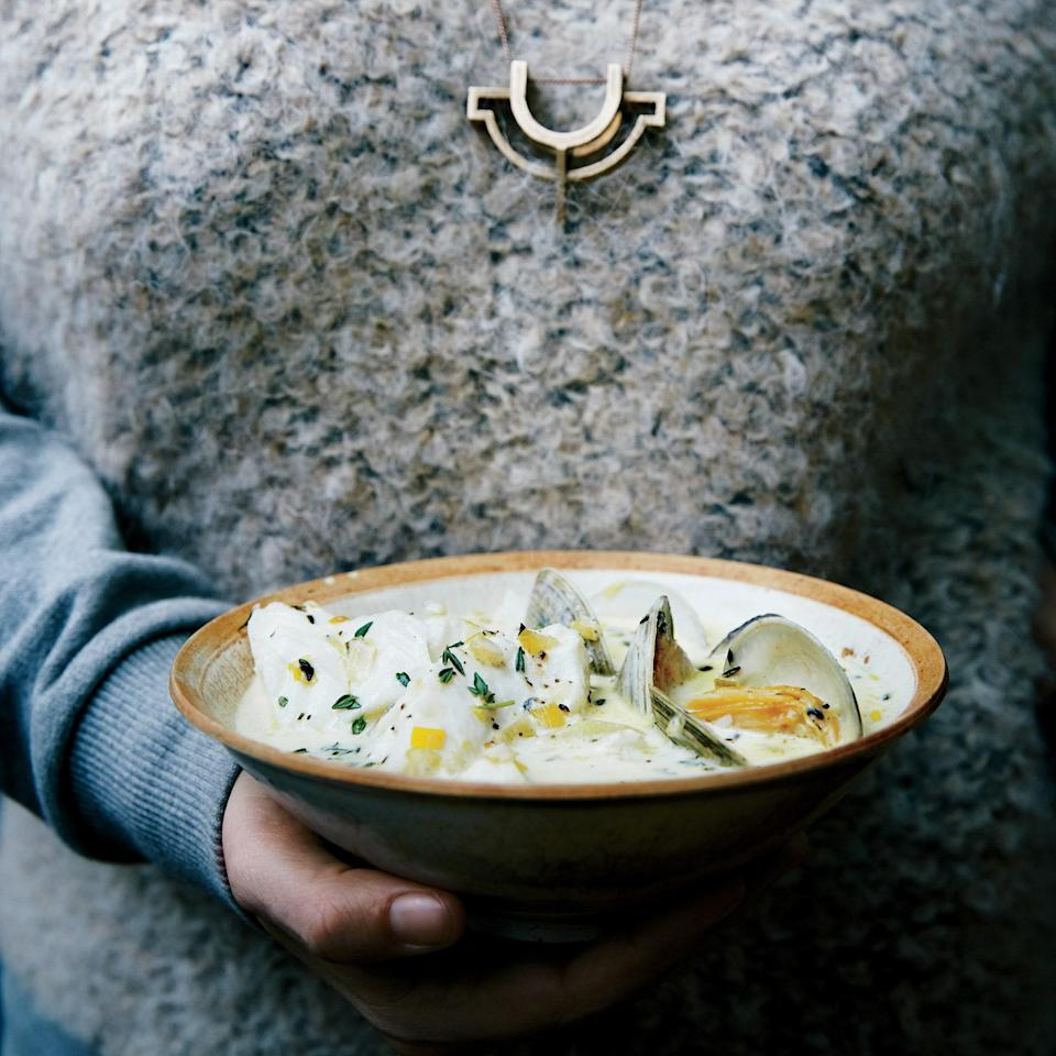 """Weeknight chowder? Use clam juice. Weekend? It's worth making fish stock from scratch. <a href=""""https://www.epicurious.com/recipes/food/views/clam-and-cod-chowder-51264450?mbid=synd_yahoo_rss"""" rel=""""nofollow noopener"""" target=""""_blank"""" data-ylk=""""slk:See recipe."""" class=""""link rapid-noclick-resp"""">See recipe.</a>"""