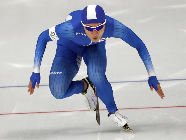Speed Skating - Pyeongchang 2018 Winter Olympics - Men's 1000m competition finals - Gangneung Oval - Gangneung, South Korea - February 23, 2018 - Jaewoong Chung of South Korea competes. REUTERS/Phil Noble