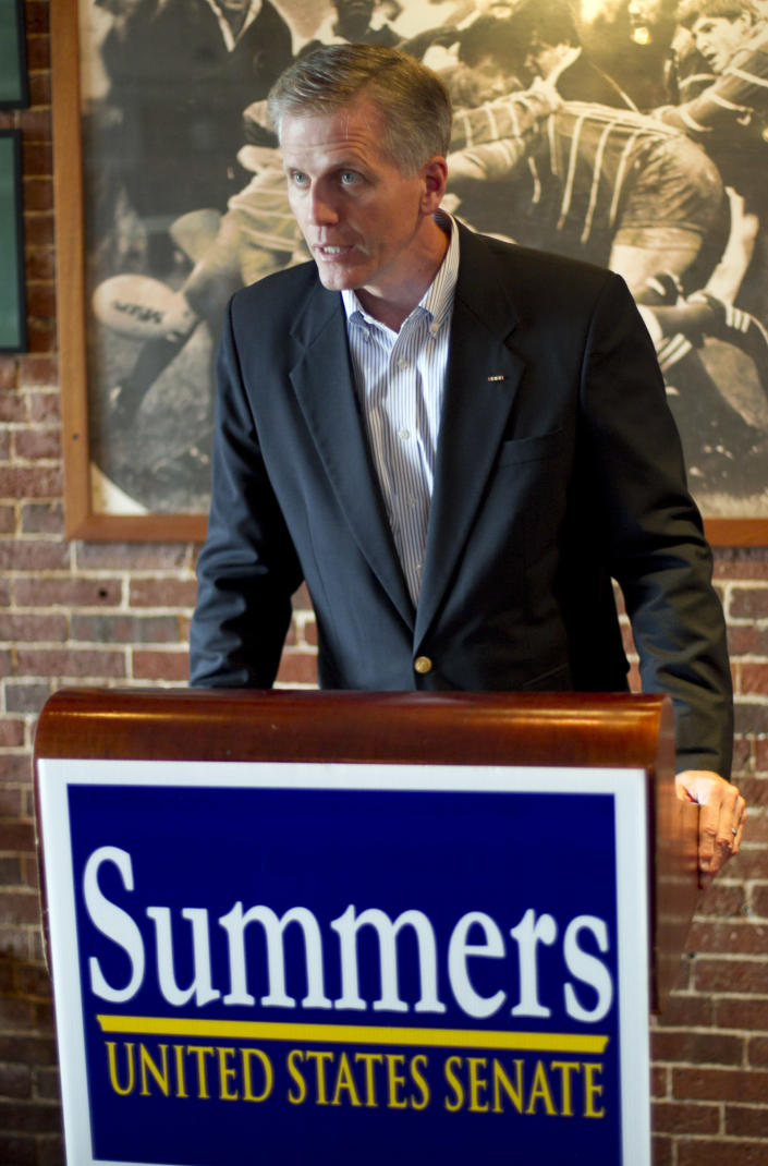 Republican candidate for U.S. Senate Charlie Summers speaks at a campaign stop at a Gritty McDuff's pub, Thursday, Oct. 4, 2012, in Portland, Maine. (AP Photo/Robert F. Bukaty)