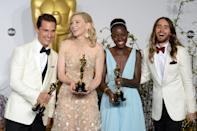 (left to right) Best Actor Matthew McConaughey, Best Actress Cate Blanchett, Best Supporting Actress Lupita Nyong'o and Best Supporting Actor Jared Leto in the press room of the 86th Academy Awards held at the Dolby Theatre in Hollywood, Los Angeles, CA, USA, March 2, 2014.