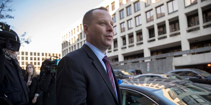 Former Donald Trump campaign aide Sam Nunberg leaves the U.S. District Courthouse after a day before a grand jury as ordered by special counsel Robert Mueller who is investigating the campaign's ties to Russian officials, in Washington, Friday, March 9, 2018.