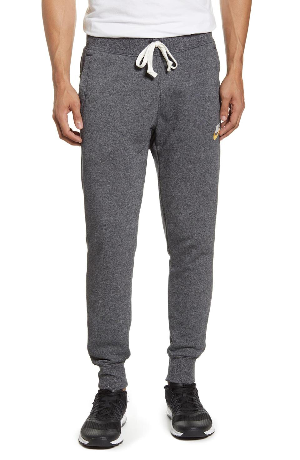 <p>He can kick back and relax in these snug <span>Nike Heritage Jogger Pants</span> ($65).</p>