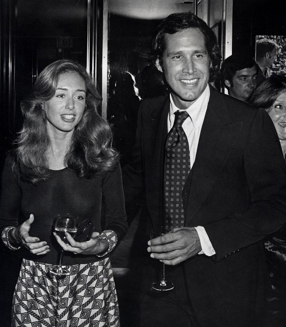 <p>Jacqueline Carlin and Chevy Chase during the RFK Pro-Celebrity Tennis Tournament Party at the Rainbow Room in New York City, 1976.</p>