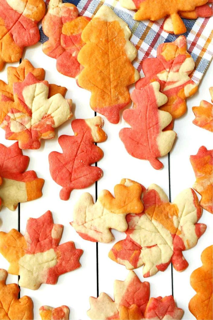"""<p>It's hard to match the beauty of autumn's leaves when they're changing colors, but these sugar cookies come pretty close! Use orange, red, and cream-colored cookie dough to get the effect. </p><p><strong>Get the recipe at <a href=""""https://onehotoven.com/autumn-leaf-sugar-cookies-with-maple-syrup/"""" rel=""""nofollow noopener"""" target=""""_blank"""" data-ylk=""""slk:One Hot Oven"""" class=""""link rapid-noclick-resp"""">One Hot Oven</a>. </strong></p><p><a class=""""link rapid-noclick-resp"""" href=""""https://go.redirectingat.com?id=74968X1596630&url=https%3A%2F%2Fwww.walmart.com%2Fsearch%3Fq%3Dleaf%2Bcookie%2Bcutter&sref=https%3A%2F%2Fwww.thepioneerwoman.com%2Ffood-cooking%2Fmeals-menus%2Fg36875717%2Ffall-cookies%2F"""" rel=""""nofollow noopener"""" target=""""_blank"""" data-ylk=""""slk:SHOP LEAF COOKIE CUTTERS"""">SHOP LEAF COOKIE CUTTERS</a></p>"""