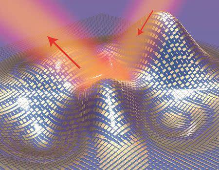 Light reflects off the cloak as if it were reflecting off a flat mirror in this 3D illustration of a metasurface skin cloak made from an ultrathin layer of nanoantennas