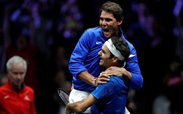 Rafael Nadal (L) congratulates Roger Federer after Europe won the inaugural Laver Cup - REUTERS
