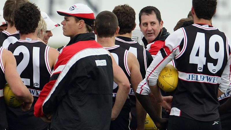 Ross Lyon, pictured here talking to his St Kilda players during a training session in 2009.